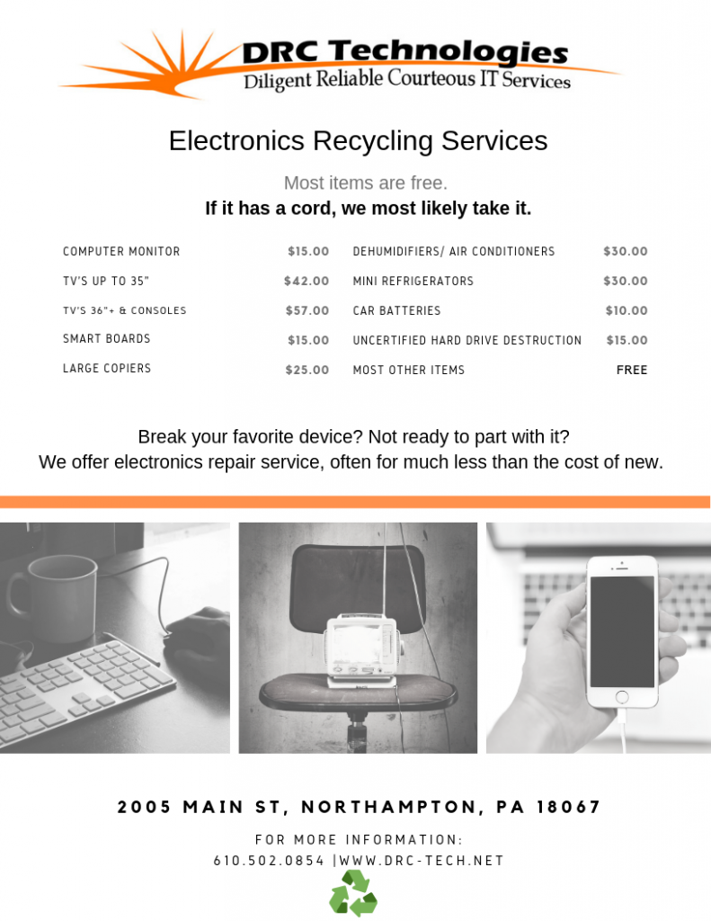DRC Technologies electronic recycling services northampton pa with prices