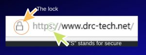 "Picture showing lock and ""s"" in https for secure sites."