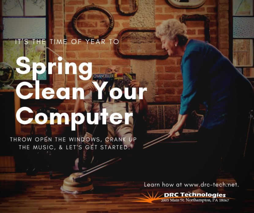 spring clean your computer lady vacumming