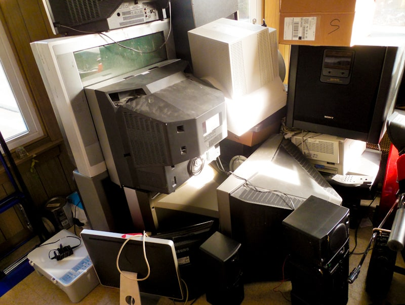 pile of electronics for recycling