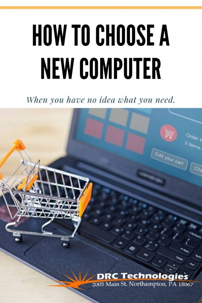 Shopping cart and computer with DRC Technologies logo