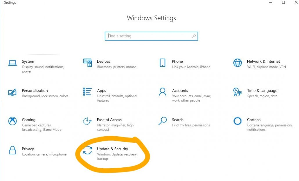 Update and security section Windows DRC Technologies